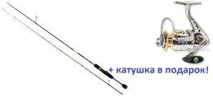 Спиннинг AIKO Bellis BLS632UL 191 см 1-5 гр + катушка Cormoran Bull Fighter 5aiF 1500  в подарок!