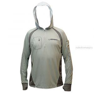 Футболка Kosadaka ISS-TS-Gr ICE SILK SUNBLOCK серая, UV защита, с капюшоном, дл.рукав