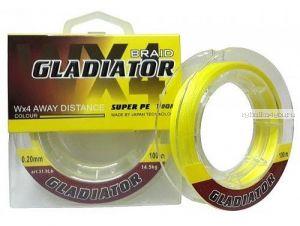 Леска плетёная Gladiator PE х4 100 м / цвет: Желтый