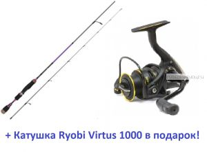 Спиннинг Aiko Margarita II 195 UL-S 195 см 0,6-7 гр + катушка Ryobi Virtus 1000  в подарок!
