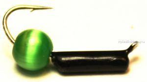 """Мормышка вольфрамовая True Weight""""Кошачий глаз"""" гвоздик d2,5 зеленый"""