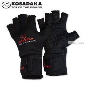 Перчатки неопреновые Kosadaka Sharks Fishing Gloves SGS17 / цвет: черный